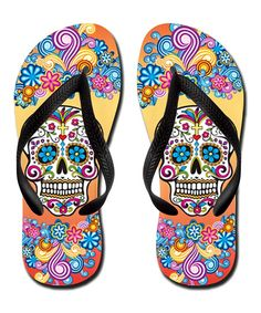 Yellow Floral Skull Flip-Flop | zulily