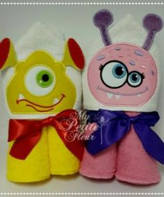 One & two eyed aliens Kids Hooded Towels, Unicorns, Aliens, Tweety, Bugs, Plush, Animals, Design, Art