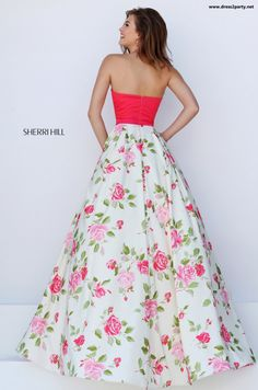 Floral carmine pink roses on white satin skirt and top