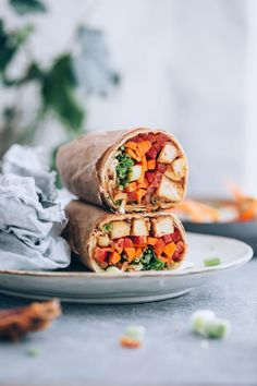 ... ginger peanut tofu wraps ... #recipe