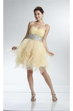 Lovely Ball Strapless Short Light Yellow Organza Ruffle Beaded Prom Dress Prom Dresses For Sale, Formal Dresses, Cocktail Dress 2017, 15 Birthday, Ruffle Beading, Beaded Prom Dress, Yellow, Fashion, Dresses For Formal