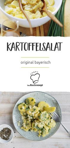 Original bayerischer Kartoffelsalat Original Bavarian potato salad He must be salty, the Bavarian potato salad. Instead of heavy mayonnaise, the vinegar-oil vinaigrette makes for slightly [. Great Appetizers, Healthy Appetizers, Appetizer Recipes, Fruit Recipes, Salad Recipes, Cooking Recipes, Potato Recipes, Mayonnaise, Cauliflower Sauce