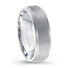 Mens Simple Brush Finish Wedding Ring in White Gold - http://www.mybridalring.com/Mens/brush-finished-14k-white-gold-wedding-band/