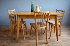 Table bistrot années 50 pieds compas mobilier français