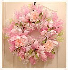 Spring Pink Rose Deco Mesh Wreath/Spring Pink by CKDazzlingDesign
