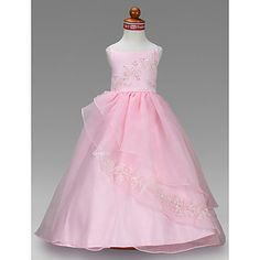 Ball Gown Bateau Floor-length Satin Flower Girl Dress – USD $ 99.99