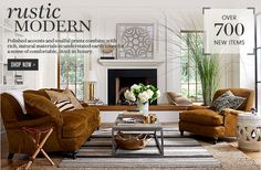 Williams Sonoma Home - Rustic Moderng  The art is a giclee print of French garden plans. Nice to reproduce, or of a maze