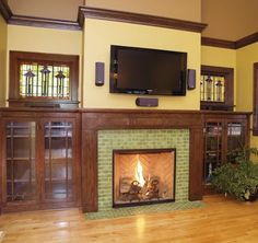 Contemporary Home Design: Traditional Living Room Arts And Crafts Tile Fireplace Showcase Stand Out Instead Of Artwork On Walls, Arts And Crafts Fireplace, Fireplace Element And Arch ~ Outmc Subway Tile Fireplace, Fireplace Tile Surround, Craftsman Fireplace, Fireplace Surrounds, Fireplace Design, Fireplace Ideas, Fireplace Mantels, Wood Fireplace, Mantles