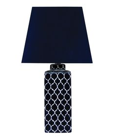 Madras 1 Light Square Table Lamp in Blue