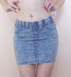 Women's H&M Sexy Hot Blue Acid Wash Bodycon Pencil Tight Mini Skirt - Size 4 #HM #StraightPencil