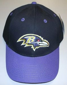 Baltimore Ravens Adjustable Velcro Strap Back NFL Hat - XZ350 by NFL. $5.00. CURVED BILL. 6 PANELS WITH VENTS. EMBROIDERED TEAM LOGO. MADE OF 100% COTTON. THIS IS A PURPLE CAP HAT WITH A BLACK BILL. IT HAS A PURPLE BUTTON AND VENTS WITH THE TEAM LOGO EMBROIDERED ON THE FRONT. NFL AND RAVENS IS PRINTED ON THE VELCRO STRAP.