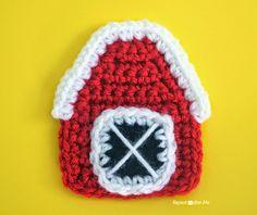 Crochet Barn Applique