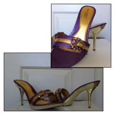 """Bolaro by Summer Rio Purple & Gold Slide EUC.    Size 10-TTS.     4"""" Heel.     3/4"""" Platform.     The detail on these shoes is amazing!  The slide strap has a purple and gold jeweled faux buckle, and the heel, base and platform have an """"engraved"""" design and are gold color. So pretty!  Worn once; these shoes are in great condition!  Soles reflect minor wear. No box.   (0016) Bolaro by Summer Rio Shoes Heels"""