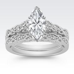 Vintage Diamond Wedding Set with Pavé Setting at Shane Co.