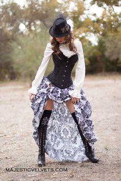 Victorian Steampunk Black Satin Corset with White & Black Bustle Skirt