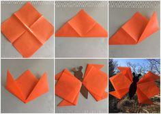 Wir haben heute unsere Fenster für den Frühling dekoriert. Dazu haben wir aus Transparentpapier -Quadraten (20x20cm) einfache Flügel gefaltet und die dann auf einen Tonpapier-Körper geklebt.  Wenn man