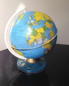 Distressed vintage metal globe estimated 1990 by SpaceModyssey