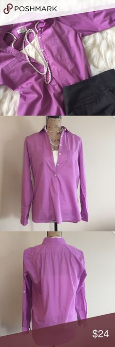 """🌷 Lilac popover from LOFT 🌷 Pretty purple popover blouse from LOFT has 6 button front and tab sleeves to button up or leave long. From LOFT The Softened line. Size XS. Relaxed fit. Excellent condition. Bust measures 20"""", front length 25"""" , back length 27"""". LOFT Tops Blouses"""