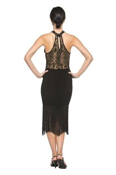 Women High Neck Lace Black Fringe 20s Flapper Dance Evening Cocktail Party Dress (Small) at Amazon Women's Clothing store: