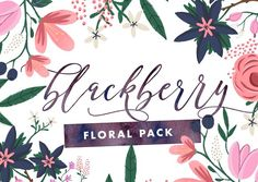 Blackberry - Painted Floral Graphics by The Fabled Graphics on @creativemarket