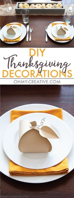 Make these easy paper pumpkins for your Thanksgiving table or any DIY Thanksgiving decorations. You can fill them with treats, use them as a place card, or just put them on your mantle to decorate. | http://OHMY-CREATIVE.COM