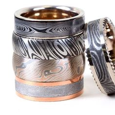 Damascus Steel, Mokume Gane and Meteorite, each one offers something completely different, depending on your style. #damascusrings #chrisploofdesigns #customweddingring