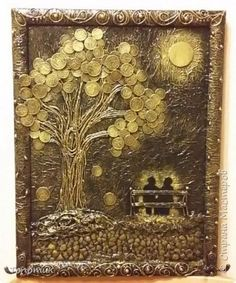 Картина панно рисунок Ассамбляж Дерево жизни дерево счастья Бумага Монета Пряжа фото 1
