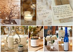 Ton's of DIY ideas! Make your own wire tree with an old wooden frame base. Escort cards with wildflower seeds in them. Stick-on labels for candles, or stick-on labels for wine bottles