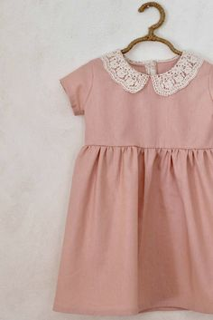 'Mabel' Handmade Blush Linen Dress With Lace Collar - SweetHannahBDesigns on Etsy Little Girl Fashion, Little Girl Dresses, Toddler Fashion, Kids Fashion, Girls Dresses, Dress Outfits, Kids Outfits, Fashion Dresses, Fashion Clothes