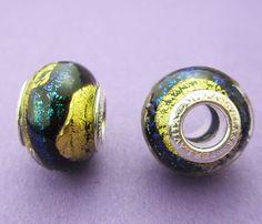 76a28ea8c New 14mm x 10mm Perlavita European Style Black and Aqua Dichroic Murano  Glass Rondelle Spacer Bead