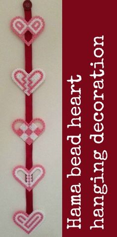 Hama bead hanging decoration for Valentine's Day, really simple to make using the Hama bead heart pegboard Valentine's Day Crafts For Kids, Valentine Crafts For Kids, Valentines Day Activities, Valentine Day Crafts, Mini Hama Beads, Fuse Beads, Pearler Beads, Hama Beads Patterns, Beading Patterns