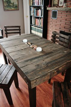 Pallet Wood Trough Table and Chairs Dining by UpcycledWoodworks, $400.00