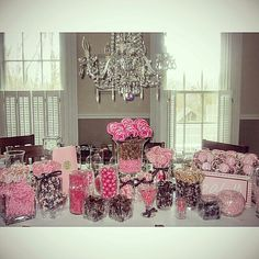 Pink and Brown Baby Shower Buffet