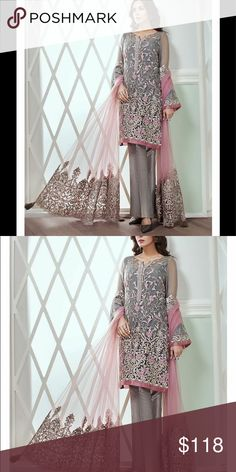 645e6e5dbd Indian pAkistani Embroidered salwar kameez Unstitched heavy Embroidered net  fabric with net duppatta Dresses Wedding Indian. Poshmark