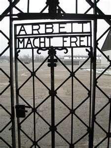 Freedom Through Work' : Famous Gate at Dachau., Dachau, Germany