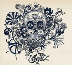 Catrina Illustration by Erykah Zeledón Salazar, via Behance Mexican Skull Tattoos, Mexican Skulls, Mexican Artwork, Zen Colors, Halloween Flyer, Popular Tattoos, Skull Art, New Tattoos, Tattoo Inspiration