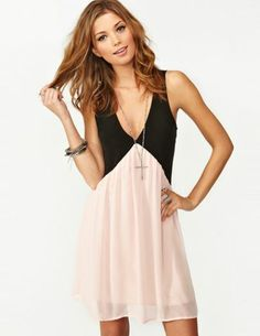 Black Pink Deep V Neck Hollow Chiffon Dress - Sheinside.com Mobile Site