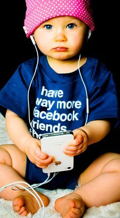 """Doesn't matter the age...it's all about social media. Shirt = """"I have way more Facebook friends than you"""""""