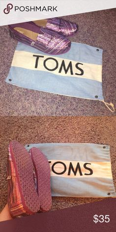 Glitter striped Toms New, never worn kids 4.5 but equivalent to a woman's 6. TOMS Shoes