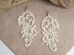 Azalea lace dangle earrings ivory by StitchFromTheHeart on Etsy on imgfave