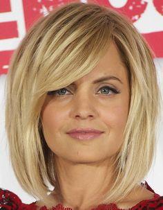 Love the hair. Medium Straight Cut with Bangs - Shoulder Length Hairstyles Lookbook - StyleBistro