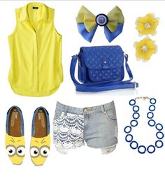 A minion inspired outfit! This would look so cute with the bowtie on my minions board! This is sooooo cool! I Love Fashion, Kids Fashion, Disney Fashion, Cool Outfits, Casual Outfits, Fashion Outfits, Diy Minion Costume, Minion Outfit, Cute Minions