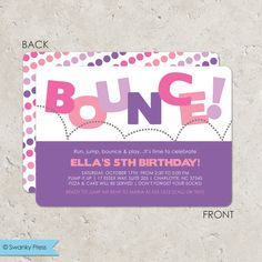 Bounce Invitation, Bounce House Birthday Party Invitation for girls, Pump It Up Party, Trampoline Party Invitation Bounce House Birthday, Bounce House Parties, Birthday Fun, Birthday Parties, Birthday Ideas, Birthday Invitation Templates, Printable Invitations, Birthday Party Invitations, Invitation Ideas