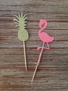 Glitter de Abacaxi e Flamingo tropical de Coco Do Queque Do aniversário da Festa de Noivado de Casamento Nupcial do Chuveiro pega comida