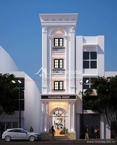 thiet-ke-nha-pho-tan-co-dien-4-tang_2 Building Facade, Building Exterior, Building Design, Modern House Plans, Modern House Design, House Elevation, Front Elevation Designs, Building Elevation, Classic House