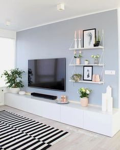 Clean and simple living room space with entertainment center ideas Bookshelves In Living Room, Ikea Living Room, Simple Living Room, Living Room Colors, Living Room Designs, Living Room Furniture, Living Spaces, Living Area, Modern Living