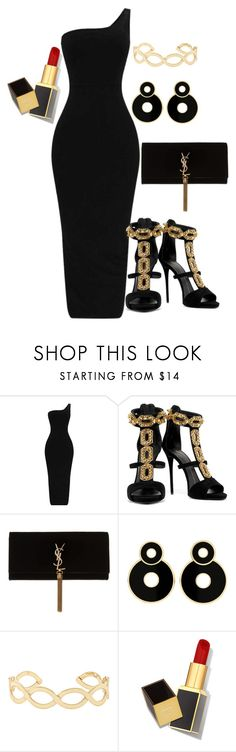 GOLD and BLACK REBELLIOUS AFFAIR by belledationsa on Polyvore featuring Giuseppe Zanotti, Yves Saint Laurent, Accessorize and Tom Ford