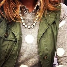 The Vintage Crystal Necklace is the perfect addition to this cozy look | Stella & Dot