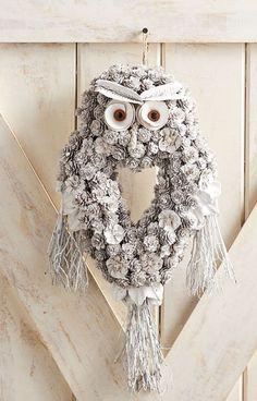 Pier 1 Imports Snowy Owl Pinecone Wreath Door Wall Decor Silver White New Pine Cone Art, Pine Cone Crafts, Pine Cones, Owl Crafts, Wreath Crafts, Diy Wreath, White Wreath, Wreath Making, Owl Wreaths