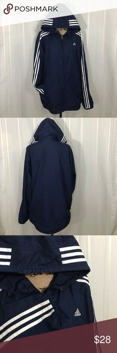 ADIDIAS Blue/White Mesh-lined Windbreaker (L) Vintage hooded windbreaker in good used condition. Three stripes down sleeve and across hood. Toggle cord on hood. Front pockets have zipper closure. Fabric and mesh in good condition with small pic beside pocket (pic).  Zipper has plastic edge missing,but still catches and zips fine. adidas Jackets & Coats Windbreakers